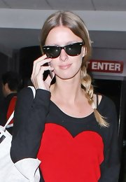 Nicky Hilton wore her hair in a long, shiny side braid at LAX.