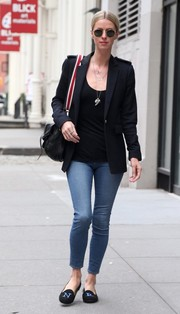 Nicky Hilton took a stroll in New York City wearing a black blazer and blue jeans combo.