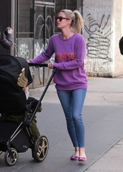Nicky Hilton paired her sweater with blue skinny jeans.