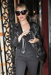 Nicole Richie dined out is a pair of her brand's black Chelsea cat-eye sunglasses.