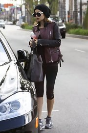 Nicole Richie sported this burgundy leather jacket with black sleeves for her slightly edgy look while leaving a workout in California.