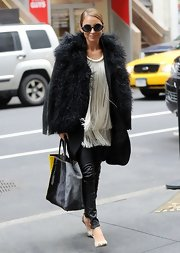 A fur coat topped off Nicole Richie's funky street style.