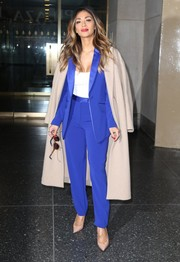 Nicole Scherzinger headed to 'The Today Show' sporting an electric-blue pantsuit by Diane von Furstenberg.