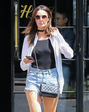 Nicole Trunfio went ultra modern with these angular sunglasses while out in New York City.