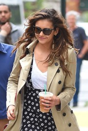 Nina Dobrev hid her eyes behind chic wayfarer sunglasses while out and about in New York City.