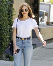 Olivia Culpo went hippie with these round Linda Farrow shades while out and about in West Hollywood.