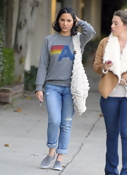 Olivia Munn was out and about town in distressed jeans paired with gray suede oxfords.