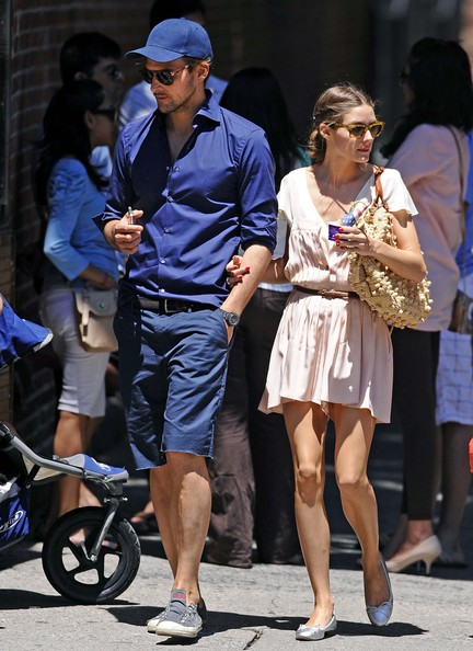 Johannes Huebl sported a monochromatic look while out in NYC  when she wore this navy button down and matching hat and shorts.