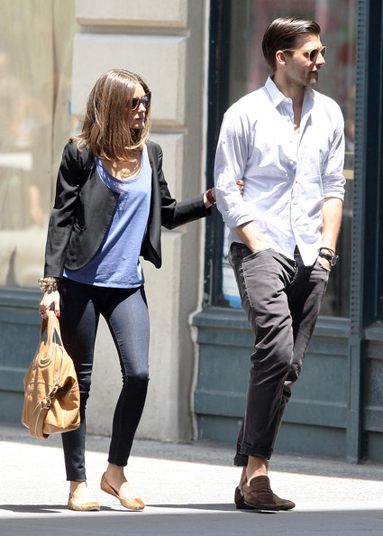Johannes Huebl chose a crisp white button down for her look while out with his girlfriend, Olivia Palermo.