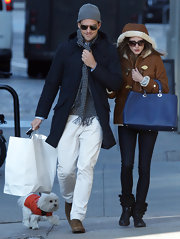 Johannes Huebl sported a navy trench while out with girlfriend, Olivia Palermo.