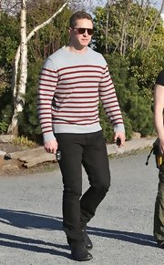 Josh Dallas chose this gray and red striped sweater for his casual look while filming 'Once Upon A Time.'