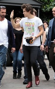 One Direction's Harry Styles wore a classic Kiss concert tee, in white.