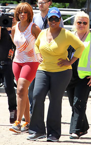 Oprah Winfrey was dressed for comfort in gray yoga pants and a knit top while touring Bondi.