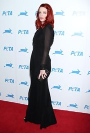 Shirley Manson completed her gothic look with a petite black leather clutch.