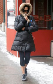Padma Lakshmi was almost unrecognizable bundled up in this hooded down jacket while strolling in New York City.