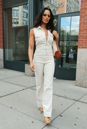 Padma Lakshmi cut a slim and chic figure in a sleeveless white jumpsuit while out and about in New York City.