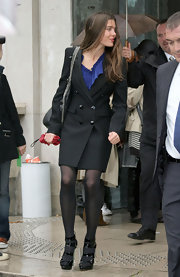 Black ankle strapped pumps by Stella McCartney give Princess Casiraghi a few extra inches.