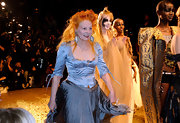 Vivienne Westwood looked like a character from a period movie in this silky blue corset top and full skirt.