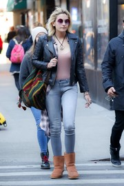 Paris Jackson took a stroll in New York City wearing a pair of skintight light-wash jeans.