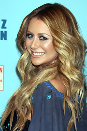 Singer Aubrey O-Day styled her honey-highlighted tresses into long flowing curls for Perez Hilton's Blue Ball Birthday Celebration.