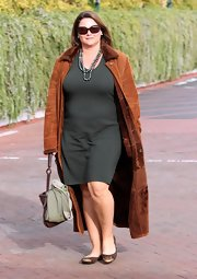 Keely Shaye Smith looked cozy in a brown suede coat while out on a lunch date.