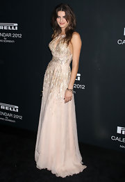 Isabeli Fontana wore a sequined pale pink dress for the Pirelli Gala Dinner in NY.