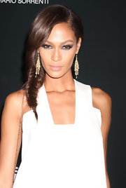 Joan Smalls wore her hair in a long, side-swept French braid at the Pirelli Gala dinner in NYC.