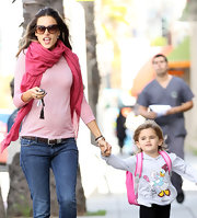 Alessandra Ambrosio looked so chic in this hot pink scarf while picking her daughter up from school.