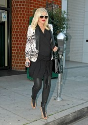 Gwen Stefani looked cool in a black-and-white abstract-print blazer layered over a wrap dress during a lunch date in Beverly Hills.