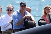 Prince William wore a navy baseball cap with his light blue button-down for his day on Sydney Harbor.