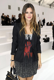 Rachel Bilson showed off her bold blazer while hitting the Roberto Cavalli fashion show.