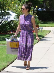 Rachel Bilson kept it youthful and cute in this purple Ulla Johnson print dress while attending a birthday party.