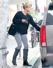 Rachel Hunter rocked a pair of black motorcycle boots while out running errands in California.