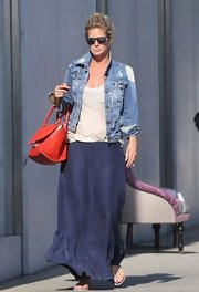 Rachel Hunter chose this tie-dye denim jacket for her casual and relaxed look while out shopping in LA.