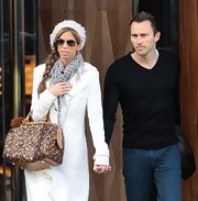 Lydia McLaughlin bundled up with this large-weave scarf.