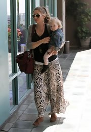 Rebecca Gayheart chose this hippie-inspired maxi-skirt for her daytime look while out with her daughter.