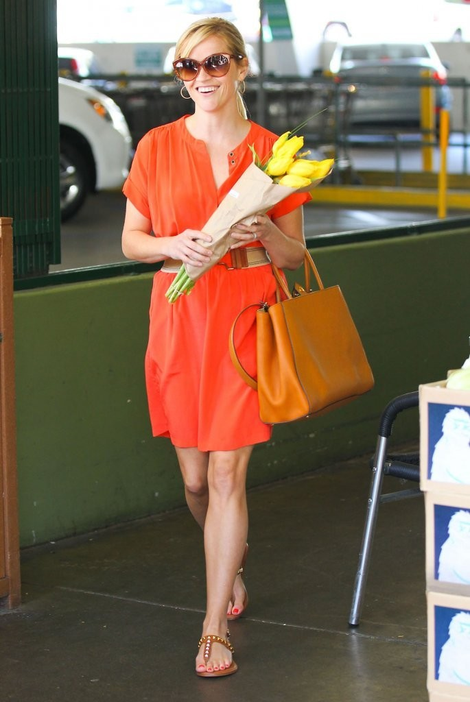 'The Good Lie' actress Reese Witherspoon picking up some flowers and a few groceries at Whole Foods in Westwood, California on May 22, 2013.