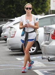 Reese Witherspoon chose an athletic white tee with blue circles for her workout.