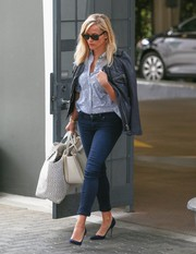 Reese Witherspoon was spotted out in Beverly Hills looking edgy-chic in a black Isabel Marant leather jacket and skinny jeans.