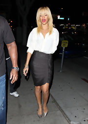 Rihanna was on trend in silver stilettos.