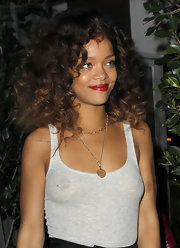 Rihanna wore her voluminous curls causally flowing over her shoulders while out in LA.