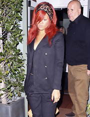 Rihanna wore a cool animal print headband with a crisp black suit while out for an evening in Los Angeles.