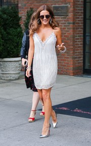 Riley Keough teamed her LWD with pointy silver pumps by Christian Louboutin.