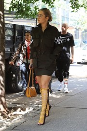 Rita Ora was tough-chic in a military-inspired mini dress by Dsquared2 while out and about in New York City.