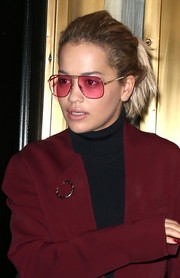 Rita Ora accessorized with pink shades to match her outfit while out and about in New York City.