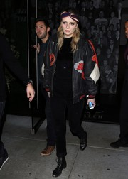 Mischa Barton cut a tough figure in this patched leather jacket while enjoying a night out at Catch.