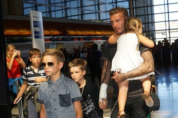 Romeo Beckham Harper Beckham David Beckham Catches A Flight With His Kids