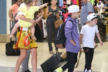 Romeo Beckham Harper Beckham Victoria Beckham & Family Departing On A Flight At LAX