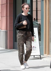 Rooney Mara completed her comfy attire with a pair of white slip-ons.