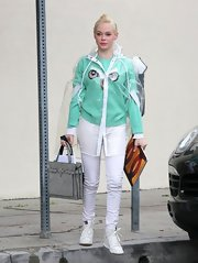 Rose McGowan showed her quirky side with this owl eyes sweater.